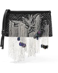 Dries Van Noten - Embellished Leather-trimmed Canvas Clutch - Lyst