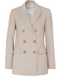 Maje - Cruise Double-breasted Checked Woven Blazer - Lyst
