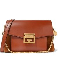 Givenchy - Gv3 Small Textured-leather And Suede Shoulder Bag - Lyst