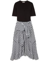 Maje - Stretch-jersey And Cotton-blend Gingham Dress - Lyst