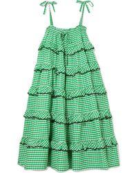 Innika Choo - Tiered Embroidered Gingham Cotton Midi Dress - Lyst