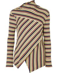Marques'Almeida - 7 For All Mankind Asymmetric Striped Ribbed Cotton-jersey Top - Lyst