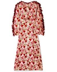 Mother Of Pearl - Wanda Ruffled Printed Silk-satin Midi Dress - Lyst