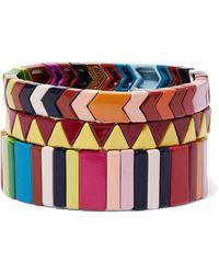 Roxanne Assoulin - Picnic Blanket Set Of Three Enamel Bracelets - Lyst