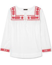J.Crew - Semolina Embroidered Cotton-voile Blouse - Lyst
