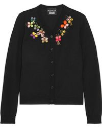 Boutique Moschino - Crystal-embellished Wool Cardigan - Lyst