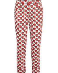Prada - Cropped Printed Mid-rise Slim-leg Jeans - Lyst