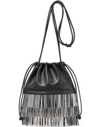Alexander Wang - Ryan Dustbag Mini Fringe-trimmed Leather Pouch - Lyst