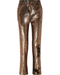 IRO - Sequined Crepe Straight-leg Trousers - Lyst