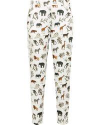 Victoria, Victoria Beckham - Printed Satin-twill Trousers - Lyst
