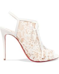 3e54be74a101 Christian Louboutin - Mariée A Colmar 100 Guipure Lace And Leather Ankle  Boots - Lyst