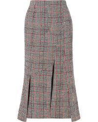 McQ - Prince Of Wales Checked Wool-blend Midi Skirt - Lyst