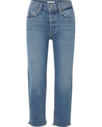 GRLFRND - Helena Cropped Distressed Mid-rise Straight-leg Jeans - Lyst