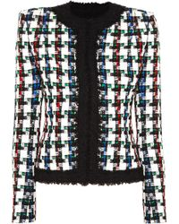 Balmain - Metallic Checked Tweed Jacket - Lyst