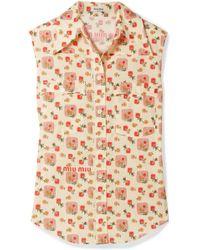 Miu Miu - Printed Cotton-voile Top - Lyst