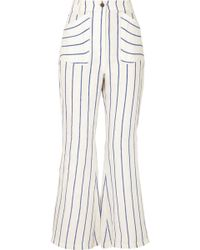 Rosie Assoulin - Striped Linen Flared Pants - Lyst