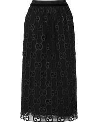 Gucci - Velvet And Grosgrain-trimmed Macramé Lace Midi Skirt - Lyst