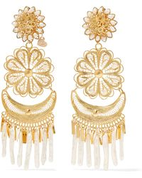 Mercedes Salazar - Fiesta Tasselled Gold-plated Pearl Clip Earrings - Lyst