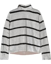 Ashish - Striped Sequined Silk-georgette Turtleneck Top - Lyst