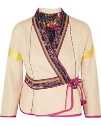Etro - Satin-trimmed Embroidered Linen-blend Wrap Jacket - Lyst