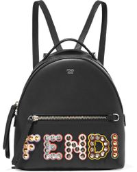 Fendi - Studded Appliquéd Leather Backpack - Lyst