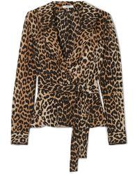 Ganni - Fayette Leopard-printed Silk Top - Lyst