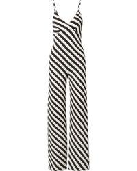 Norma Kamali - Striped Stretch-jersey Jumpsuit - Lyst