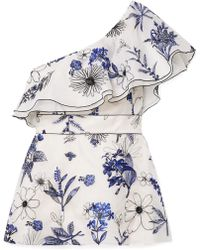 Lela Rose - One-shoulder Embroidered Silk-organza Top - Lyst
