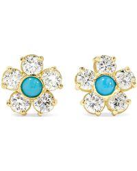 Jennifer Meyer - 18-karat Gold, Diamond And Turquoise Earrings - Lyst