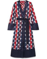F.R.S For Restless Sleepers - Nomos Satin-trimmed Printed Silk-twill Robe - Lyst