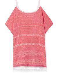 lemlem - Saba Cold-shoulder Embroidered Cotton-blend Gauze Mini Dress - Lyst