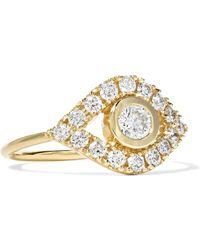 Sydney Evan - Evil Eye 14-karat Gold Diamond Ring Gold 7 - Lyst