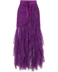 Rodarte - Satin-trimmed Ruffled Lace Maxi Skirt - Lyst