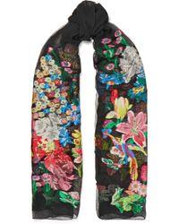 Etro - Embroidered Silk-blend Georgette Scarf - Lyst