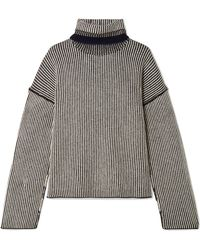 Theory - Striped Cashmere Turtleneck Jumper - Lyst