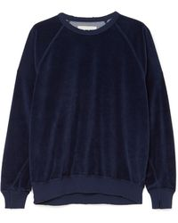 The Great - The College Cotton-blend Velour Sweatshirt - Lyst