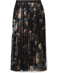Adam Lippes | Pleated Printed Chiffon Midi Skirt | Lyst
