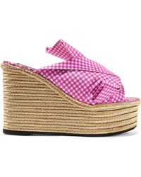 N°21 - Knotted Gingham Twill Espadrille Wedge Sandals - Lyst