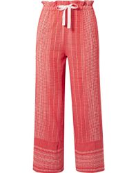 lemlem - Saba Cropped Embroidered Cotton-gauze Wide-leg Trousers - Lyst