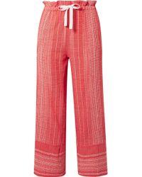 lemlem - Saba Cropped Embroidered Cotton-gauze Wide-leg Pants - Lyst