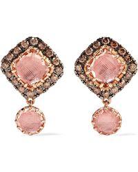 Larkspur & Hawk - Caprice Cushion 14-karat Rose Gold, Diamond And Quartz Earrings - Lyst