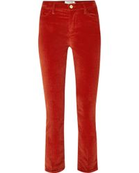 FRAME - Le High Cotton-blend Corduroy Straight-leg Trousers - Lyst