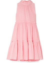Lisa Marie Fernandez - Erica Ruffled Broderie Anglaise Cotton Mini Dress - Lyst
