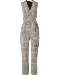 L'Agence - Julia Prince Of Wales Checked Silk-crepe Jumpsuit - Lyst