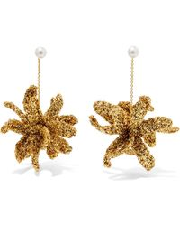 Lucy Folk - Spritz Gold-plated, Lurex And Pearl Earrings - Lyst