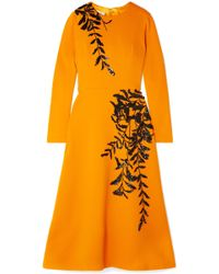 Oscar de la Renta - Embellished Wool-blend Midi Dress - Lyst