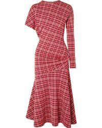 CALVIN KLEIN 205W39NYC - Asymmetric Prince Of Wales Checked Cady Midi Dress - Lyst