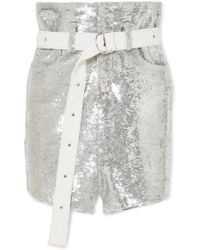 IRO - Natou Belted Sequined Twill Mini Skirt - Lyst