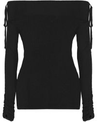 Veronica Beard - Nolan Ballet Off-the-shoulder Ribbed Merino Wool Sweater - Lyst