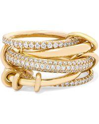 Spinelli Kilcollin - Set Of Five 18-karat Yellow Gold Diamond Rings Gold 7 1/2 - Lyst